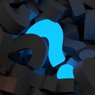 Glowing blue question mark in a field of black question marks