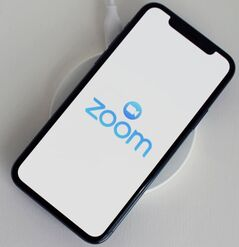 Zoom logo displayed on iPhone