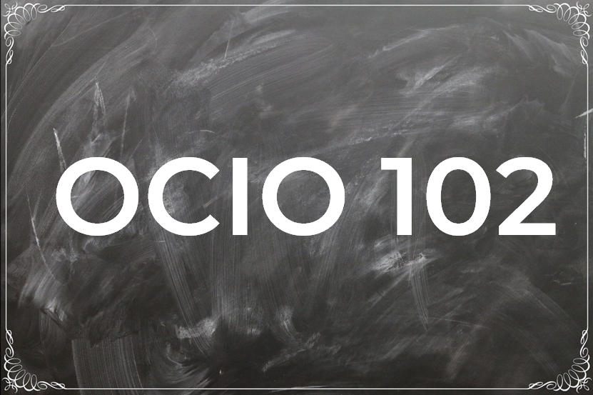Picture of Blackboard with OCIO 102 Written
