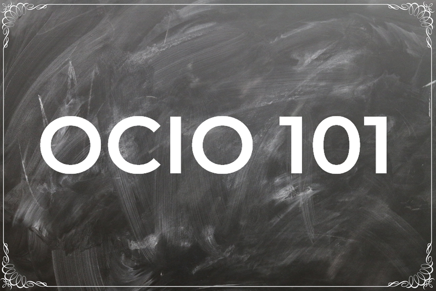 Blackboard with OCIO 101 displayed